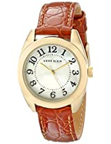 Anne Klein Women's AK/1398MPHY Gold-Tone Easy-to-Read Dial Honey Brown Leather Croco-Grain Strap Watch