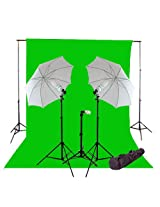CowboyStudio 1000 Watt Photo Studio Continuous Triple Lighting Kit, 10 X 20ft Green Muslin Backdrop with 12 Feet Background Support System and Carry Case