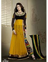 Rozdeal Women Net Embroidered Unstitched Long Sleeve Yellow Anarkali Suit