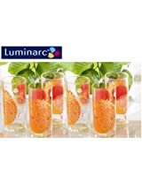 Luminarc Set of 6 Graphic Flower Red 270 ML Glass