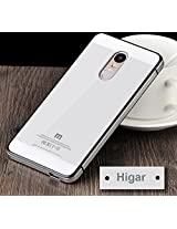 HIGAR Brand M Series Luxury Aluminium Tempered Glass Mobile Back panel replacement Case Cover for Xiaomi Redmi Note 4G - White