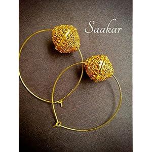 Saakar Golden Charm Hoops Earrings