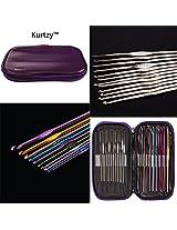 22 Aluminium & Steel Crochet Hooks in Purple Case By kurtzy TM