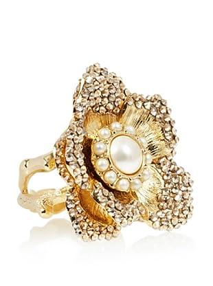 Judith Leiber Champagne Crystal Flower Ring