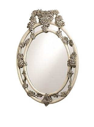 French Heritage Petite Cru Grape and Vine Mirror, White and Grey