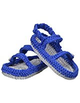 Jefferies Socks Baby-Boys Sandal Crochet Bootie, Royal Blue, Newborn