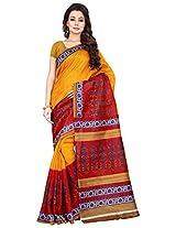 Silk Bazar Women's Tassar Silk Saree with Blouse Piece (Red & Yellow)