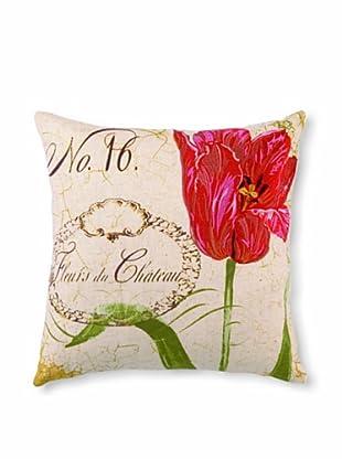 "Kathryn White Fleurs Chateau Pillow, Red/Green, 16"" x 16"""
