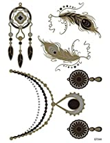 Spestyle New Design Hot Selling Golden Gold & Silver & Black Metallic Temporary Tattoo Stickers Jewelry Fashion Design With Feathers Fashion Fake Tattoo Stickers