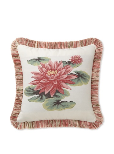 Elsa Blue Lily with Fringe Indoor/Outdoor Pillow 17
