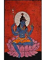 Exotic India Lord Shiva - Batik Painting On Cotton