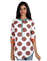 eSTYLe Orange Printed Short Kurti With Lace Work