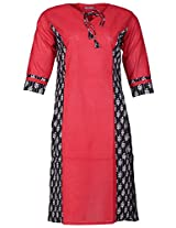 Bunkaari India Women's Cotton Regular Fit Kurti (00LK 14_42, Red , 42)