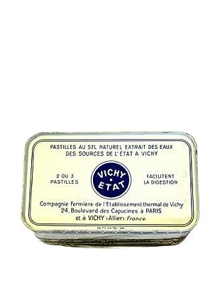 Vintage Pastilles Vichy-Etat Tin, Cream/Blue