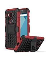 Chevron Hybrid Military Grade Armor Kick Stand Back Cover Case for LG Nexus 5X (Red)