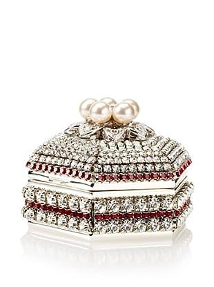 Isabella Adams Freshwater Pearl & Swarovski Crystal Hexagon Keepsake Box, July (Ruby)