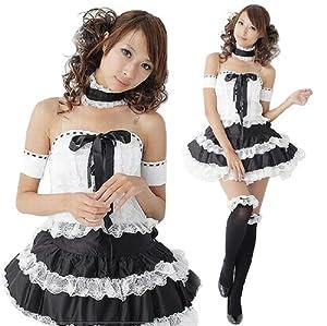 小悪魔コスプレ 可愛いゴスロリ衣装白×黒