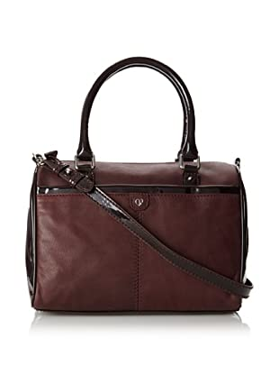 Charlotte Ronson Women's Patent Mix Satchel, Wine