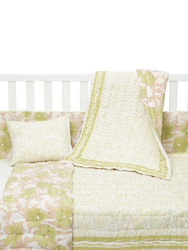 Kerry Cassill 4-Piece Crib Set (Lime Plume/Watercolor)