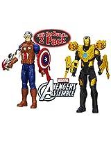 Marvel Avengers Titan Hero Series Heavy Armor Captain America Bunker Buster Iron Man 12 Figures Gift Set Bundle - 2 Pack