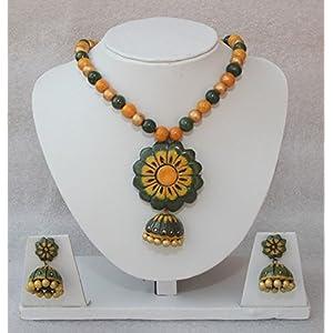 Anikalan Designs Flowery Jhumka Necklace
