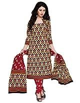 Salwar Studio Maroon & Black & White Cotton Dress Material with Dupatta SHIMAYAA-1221