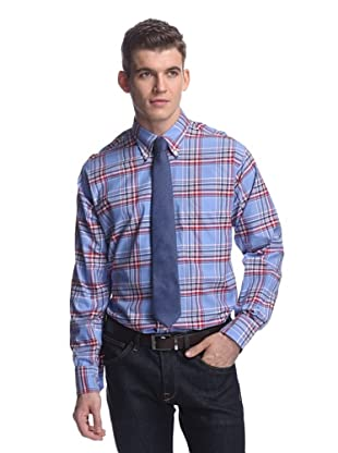 Oxxford Men's Sport Shirt with Button-Down Collar (Light Blue/Red Plaid)