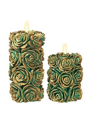 Volcanica Set of 2 Green & Gold Flora Pillar Candles