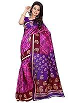 Silk Bazar Women's Tassar Silk Saree with Blouse Piece (Pink & Purple)