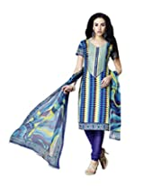 Admyrin Multi Colour Cotton Salwar Kameez With Printed Dupatta
