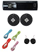 Worldtech Onmca_415 Single Din Wt - 7103U With 6 Inch Speakers Set With 4 Aux Wire & Tweeter