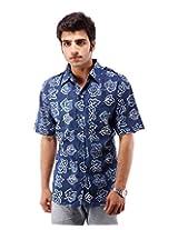 Albelishop Men's Button Front Shirt (FI008_XXL, Multi-Colour, XXL)