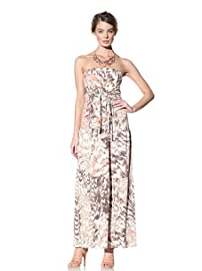 Donna Morgan Women's Printed Strapless Maxi Dress (Natural Peach)