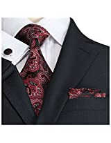 Landisun Lan-5005 Silk Necktie Set {Red}