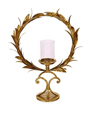 Winward Leaf Wreath Candle Holder, Antique Gold