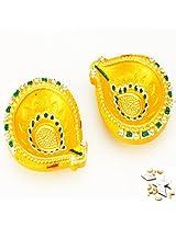 Ghasitaram Gifts Set of Two Traditional Yellow Diyas with 400 gms kaju Katli