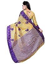 Asavari Blended Banarasi Saree(A15Rb-Chk-Oms-Uda_Beige & Violet)