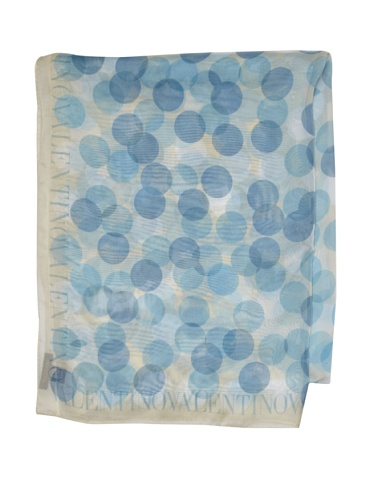 Valentino Women's Dotted Scarf with Logo Border (Light Blue)