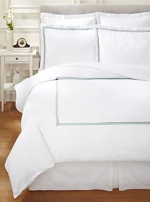 Garnier-Thiebaut Nice Hotel-Style Duvet Set (White/Forest Green)