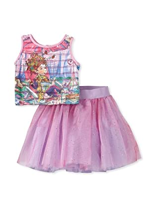 Fancy Nancy Girl's Tiered Top with Tulle Skirt (Pink)