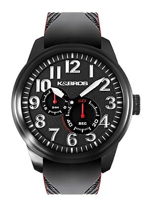 K&BROS 9460-1 / Reloj de Caballero  con correa de caucho Negro