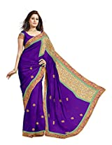 Utsav Fashion Women's Purple Faux Chiffon and Net Saree with Blouse