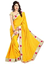 Lucy Fashion Women's Chiffon Saree (Yellow)