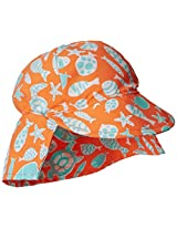 Flap Happy Baby Boys' UPF 50+ Original Microfiber Flap Hat, Tangerine Tide, Medium
