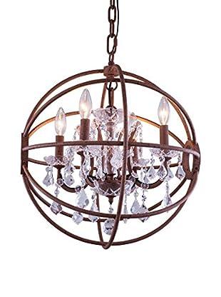Urban Lights Geneva 5-Light Pendant Lamp, Rustic Intent/Royal Cut Crystal