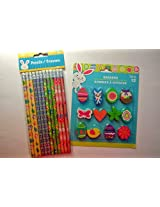 Easter Themed Pencils and Erasers - 12 Count Each