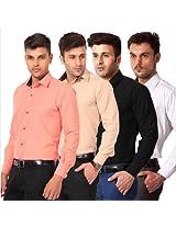 Spaky Multicolour Plain Cotton Pack of 4 Men Shirts PL SRT 51 52 53 54