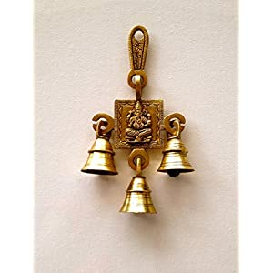 KINGS AND QUEENS Brass Gift Statue Ganehsa wall hanging with 3 bells