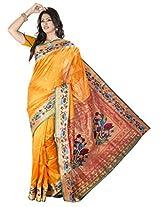 ISHIN Art Silk Yellow Kanjivaram Saree