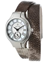 Philip Stein Womens 44-CMOP-UWPY Stainless Steel Watch with Wraparound Python-Embossed Band